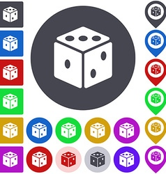 Color dice icon set vector