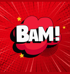 Comic zoom inscription bam on a colored vector
