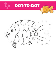 Connect dots and draw a cute fish numbers vector