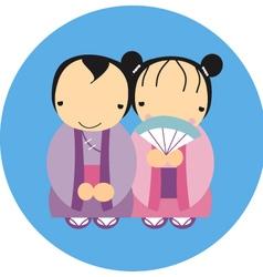 Couple japanese vector