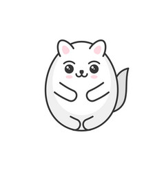 cute cartoon kawaii white cat on light background vector image