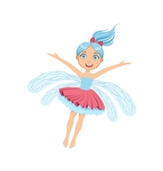 Cute Fairy With Blue Hair Girly Cartoon Character vector