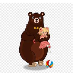 Cute teddy bear hugging baby girl in pink dress vector