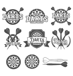 Darts labels set badge logos vector image