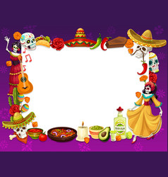 day death holiday in mexico frame symbols vector image