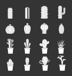 different cactuses icons set grey vector image