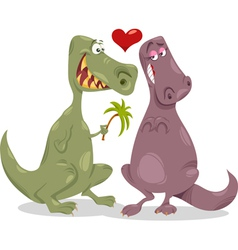 Dinos in love cartoon vector