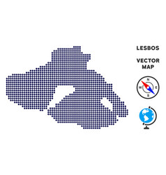 Dotted greek lesbos island map vector