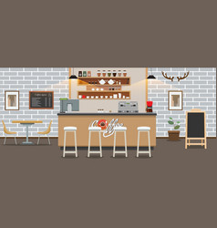 empty cafe interior cofee shop bar counter with vector image