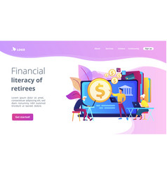 Financial literacy retirees concept landing vector