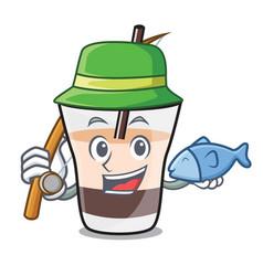 fishing white russian mascot cartoon vector image