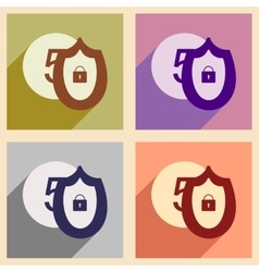 Flat with shadow icon concept Coin and Shield vector image