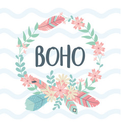 Flowers and feathers crown decoration boho style vector