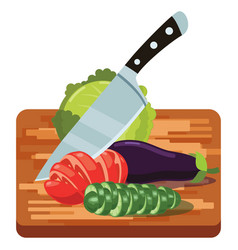 fresh vegetables on woden cutting board with knife vector image