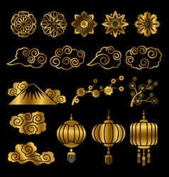 Golden japanese and chinese asian motif vector