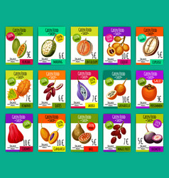 Green food shop prices with exotic fruits vector