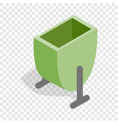 Green trash outdoor bin isometric icon vector