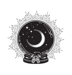 Hand drawn magic crystal ball with crescent moon vector