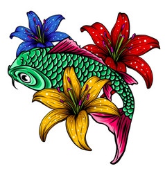 hand drawn outline koi fish and water splash vector image