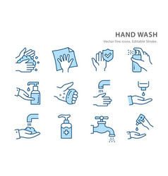 hand washing flat line icon set vector image