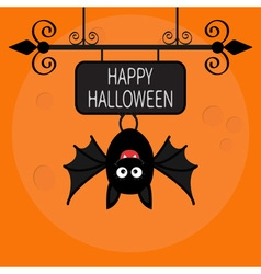 Happy Halloween card Cute cartoon hanging bat vector image