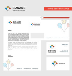 heart and star balloons business letterhead vector image