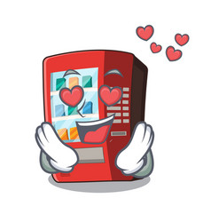 in love vending machine next to character door vector image