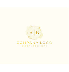 Initial ab letters colorful watercolor splash vector