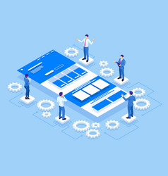 isometric ui or ux design concept application vector image