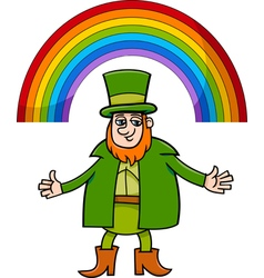 Leprechaun and rainbow cartoon vector