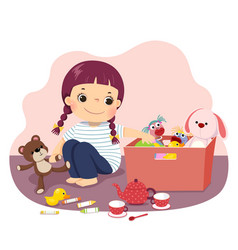 Little girl putting her toys into box vector
