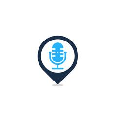 Locate podcast logo icon design vector