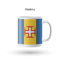 Madeira flag souvenir mug on white background vector