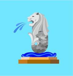 merlion singapore monument icon flat design vector image