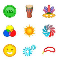 Merriment icons set cartoon style vector