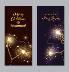 merry christmas banners with sparklers heart and vector image
