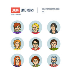 Modern thin line icons set of people avatars vector