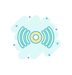 Motion sensor icon in comic style sensor waves vector