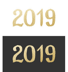 new year 2019 golden text with bright confetti vector image