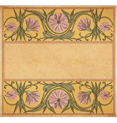 Old paper floral frame vector