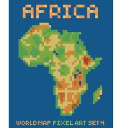pixel art style of africa physical world map vector image vector image