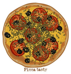 Pizza with tomato olives and cheese vector