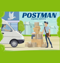 postman and parcel near post office mail delivery vector image
