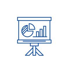 presentation board line icon concept presentation vector image