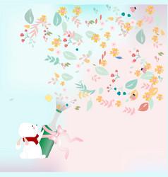 Rabbit bunny celebrated flower wine vector