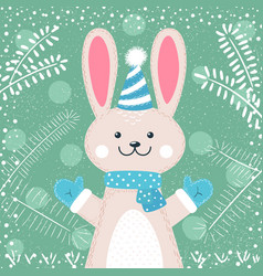 rabbit characters cute winter vector image