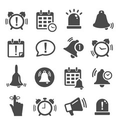 reminder notification black and white glyph icons vector image