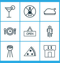 restaurant icons set with alcohol forbid wc bbq vector image