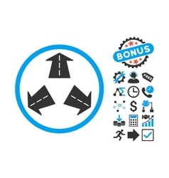Road Directions Flat Icon with Bonus vector image