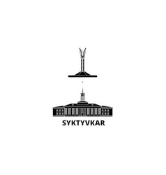 russia syktyvkar flat travel skyline set russia vector image